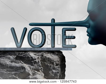 Vote liar and voting deception symbol as a human with a long lying nose as a metaphor for dishonesty and voter fraud in an election.
