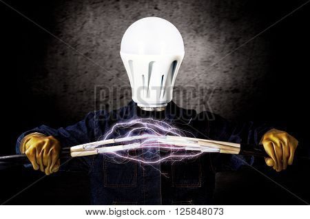 Electrician with a light bulb instead of a head keeps cables that shoot lightning
