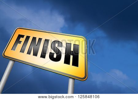 finish the end of the competition an exit out of problems road sign, billboard.