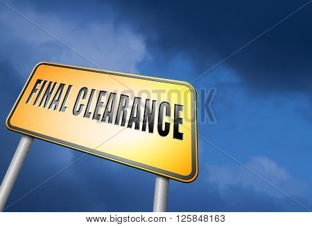 final clearance and big stock sale road sign for webshop sales or web shop billboard