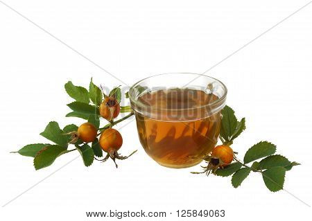 Glass cup with a drink from the hips on a white background isolated