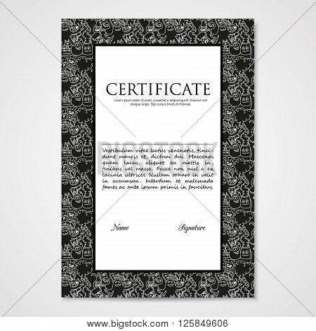 Graphic design template document with abstract monsters. Hand drawn illustration in black and white colors.
