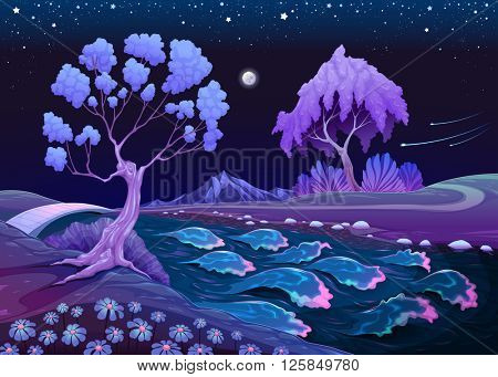 Astral landscape with trees and river in the night. Vector illustration