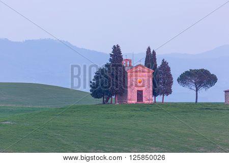 The Chapel of Our Lady of Vitaleta,Tuscany, Italy