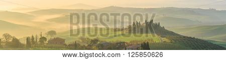 Rolling hills of Tuscany, Val d'Orcia, Italy