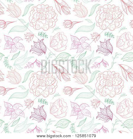 Summer seamless texture with maroon, rose and pink doodle flowers
