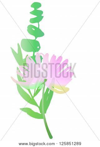 Vector watercolor flower and greens. Florist composition ikebana. Chrysanthemum green leaves and branches