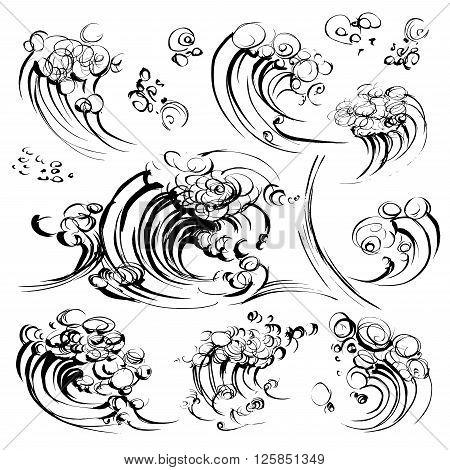 Waves brush ink sketch handdrawn serigraphy print stamp set