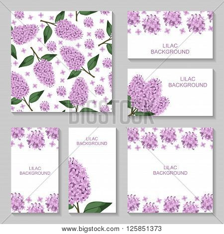 Vector illustrations of Lilac flowers background set. Lilac pattern seamless. Lilac business card
