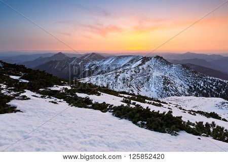 National Park of Mala Fatra in northern Slovakia at the end of winter.