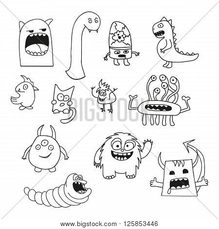 Set of doodle monsters icons in white and black colors