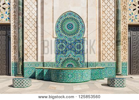 Casablance, Morocco - March 21, 2014: The mosaic in Grand Mosque of Hassan II on March 21, 2014 in Casablanca Morocco