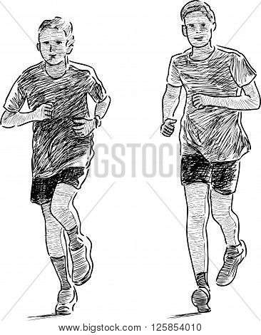 Vector drawing of the schoolboys on the wellness jog.