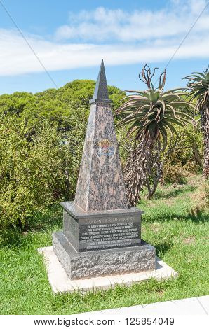 PORT ELIZABETH SOUTH AFRICA - FEBRUARY 27 2016: Memorial at the Garden of Remembrance in the Donkin Reserve for deceased Councilors who diligently served the Nelson Mandela Bay Council from 1994