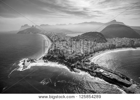 Aerial View Of Famous Copacabana Beach And Ipanema Beach