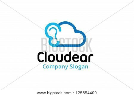 Cloud Ear Creative And Symbolic Logo Design Illustration