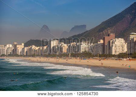 View Of Copacabana Beach In Rio De Janeiro. Brazil
