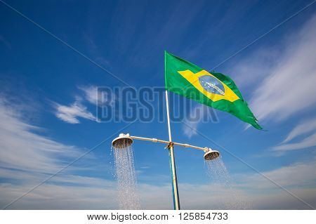 Shower On The Beach Of Copacabana