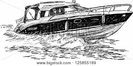 Vector drawing of the motorboat in trip.