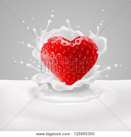 Appetizing strawberry heart in milk splashes. Love for food