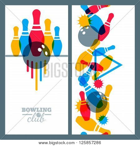 Set Of Bowling Banner, Poster, Flyer Or Label Design Elements.