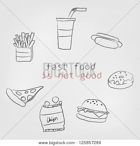 a few icons of unhealthy food which is drawing by hand