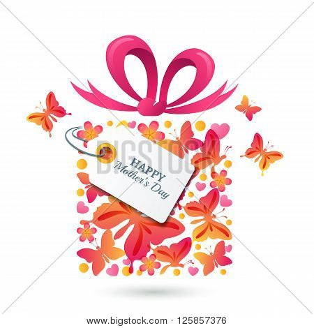 Happy Mothers Day vector greating card template. Gift box with butterflies hearts bow ribbon and tag. Colorful holiday illustration.