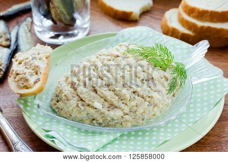 Forshmak fish paste recipe of traditional Jewish cuisine. Pate of salty herring with butter selective focus