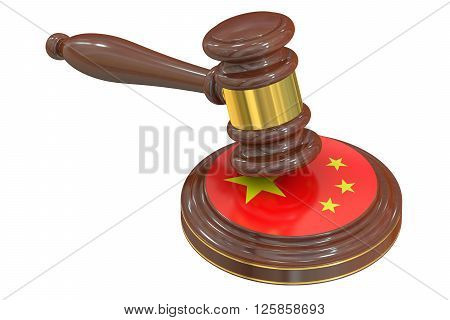Wooden Gavel with Flag of China 3D rendering