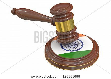 Wooden Gavel with Indian Flag 3D rendering
