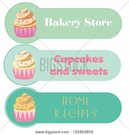 Capcake banners set. For your business greeting cards menu shops stores e-commerce webs logos and other design