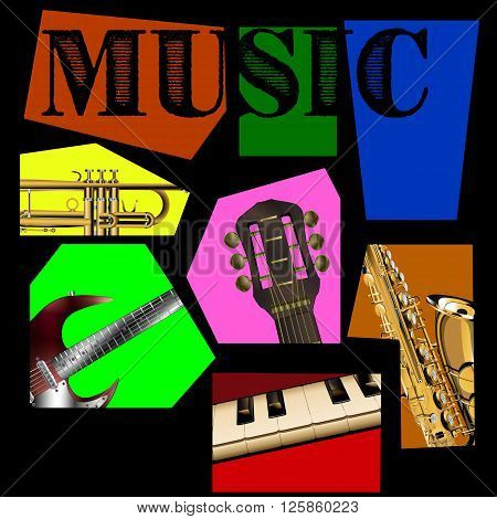 Vector illustration of music background of the segments, guitar, saxophone, piano keys and trumpet. All elements of the individual and can be used together or separately.