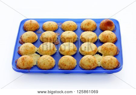 Cake pops preparation baked ball dough in mold isolated on white background
