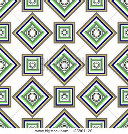 Geometric pattern of grey green squares. vector seamless
