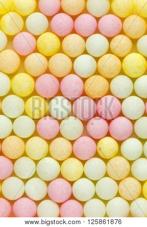 Sugar sweet bubble decoration for cake and pastry horizontal background