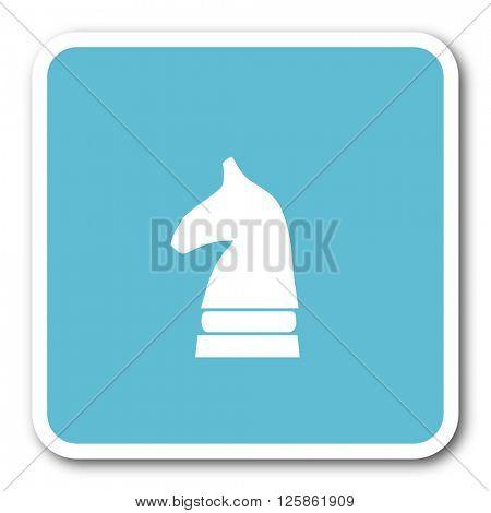 chess horse blue square internet flat design icon