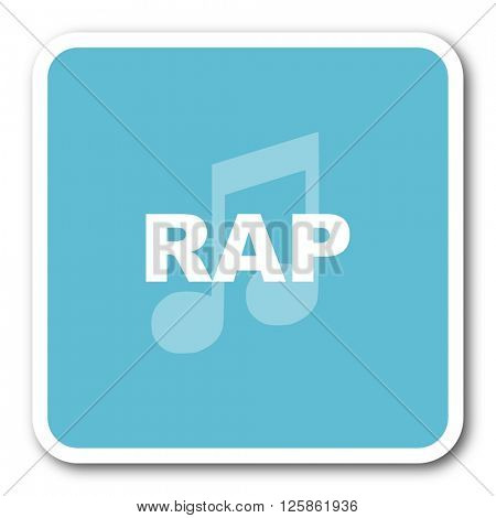 rap music blue square internet flat design icon