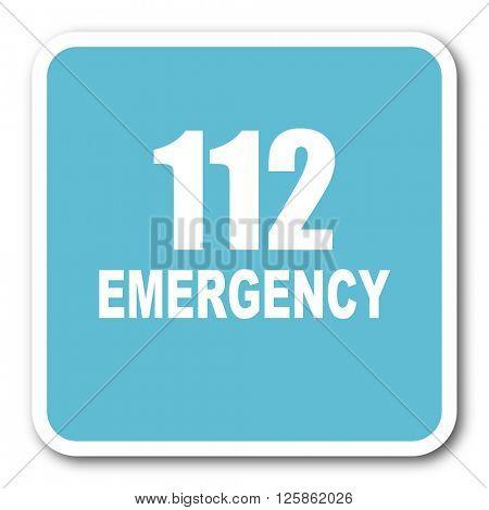 number emergency 112 blue square internet flat design icon