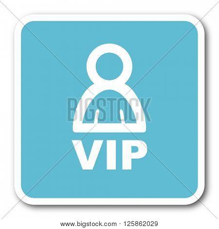 vip blue square internet flat design icon