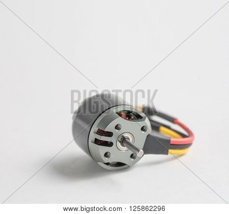 Small electric motor DC current for model of ship or aircraft, a lot of copyspace