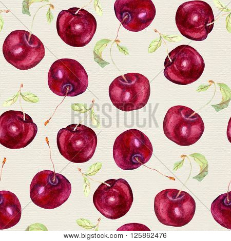 Cherry fruit seamless background - cherry berries. Aquarelle