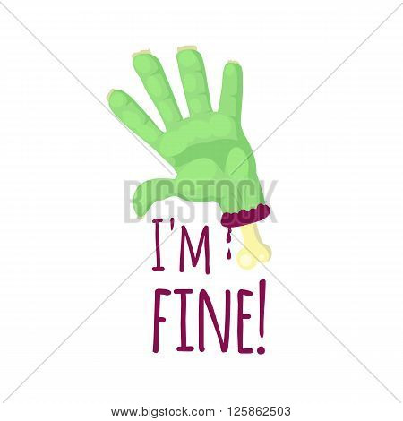 Zombie hand isolated on white background. Zombie hand with protruding bone in cartoon style. T-shirt design. Vector illustration.