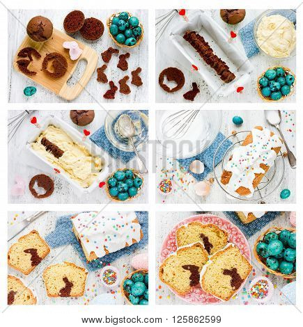 Recipe step by step collage for cooking traditional Easter cake with chocolate bunny inside white icing and colorful sugar sprinkling