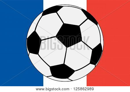 Official flag of France and soccer ball vector illustration