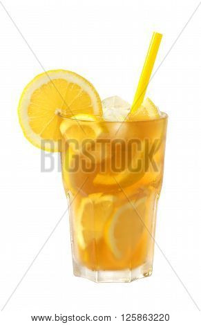ice tea with lemon and a straw in a glass isolated on white background