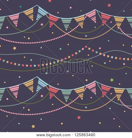 Party pennant bunting. Party seamless background. Vector seamless illustration with ribbons of festive flags.