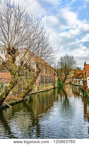 Winter Canals Of Brugge (bruges), View From Mariastraat