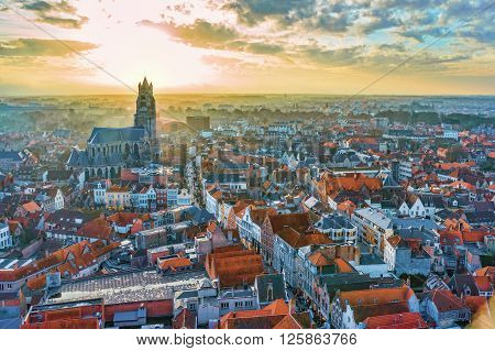 Winter Aerial View On The Old Town Of Bruges (brugge), And Saint Salvator's Cathedral