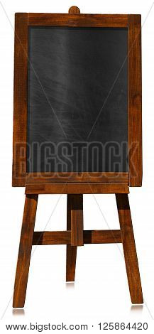 3D illustration of an empty blackboard with wooden frame on a wooden tripod. Isolated on white background