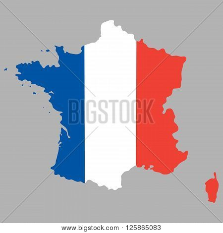 Map of France with an official national flag on a gray background